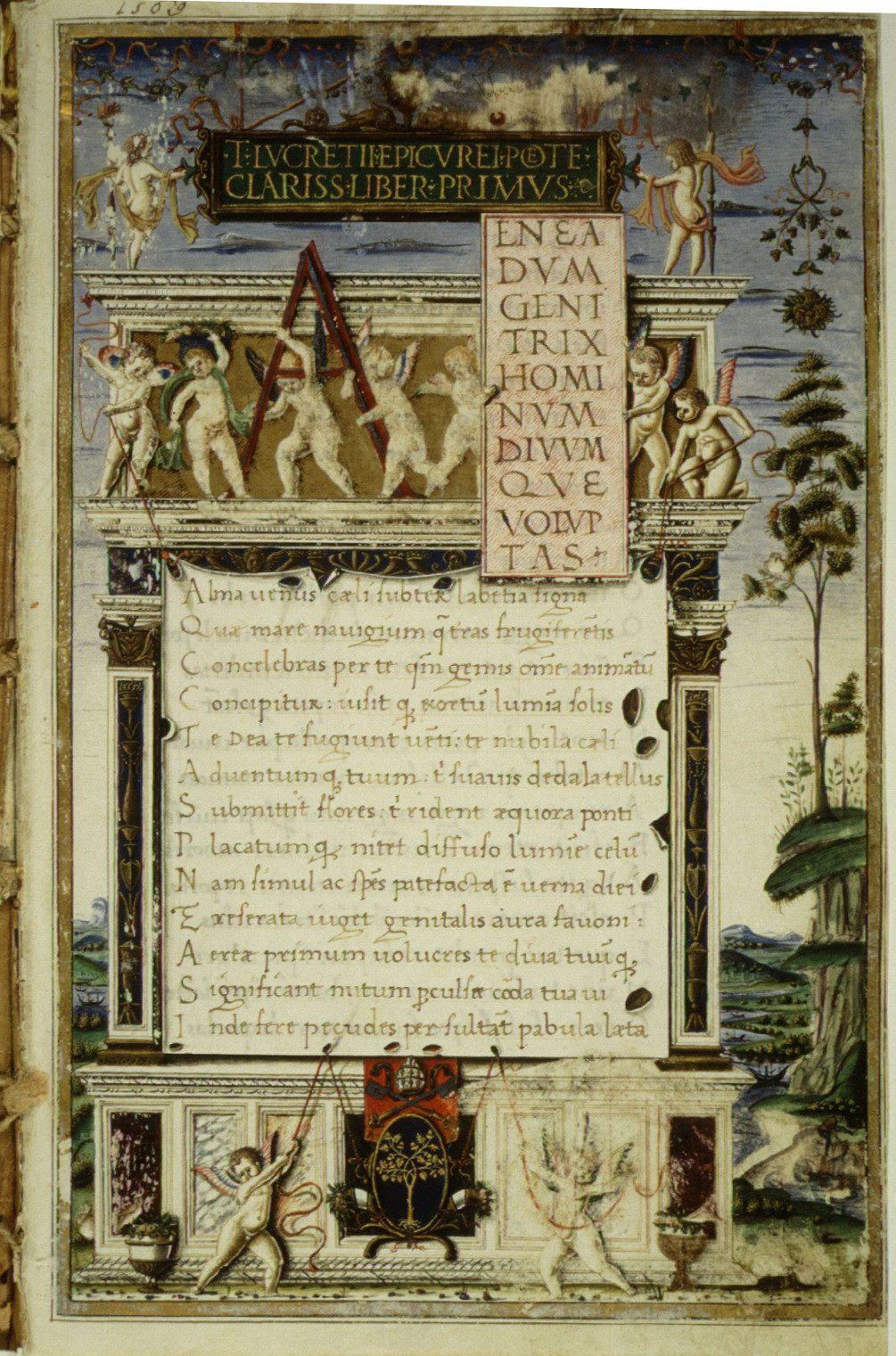 Première page du De rerum natura, copie de 1483 par Girolamo di Matteo de Tauris pour le pape Sixte IV
