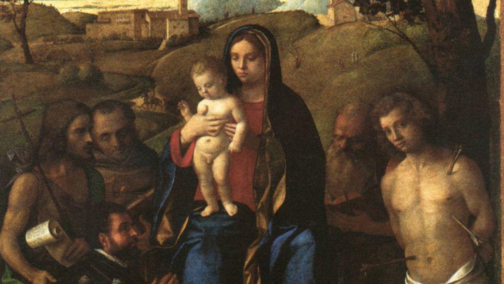 La Vierge et l'enfant entre les saints Jean-Baptiste, François, Jérôme, Sébastien - Bellini