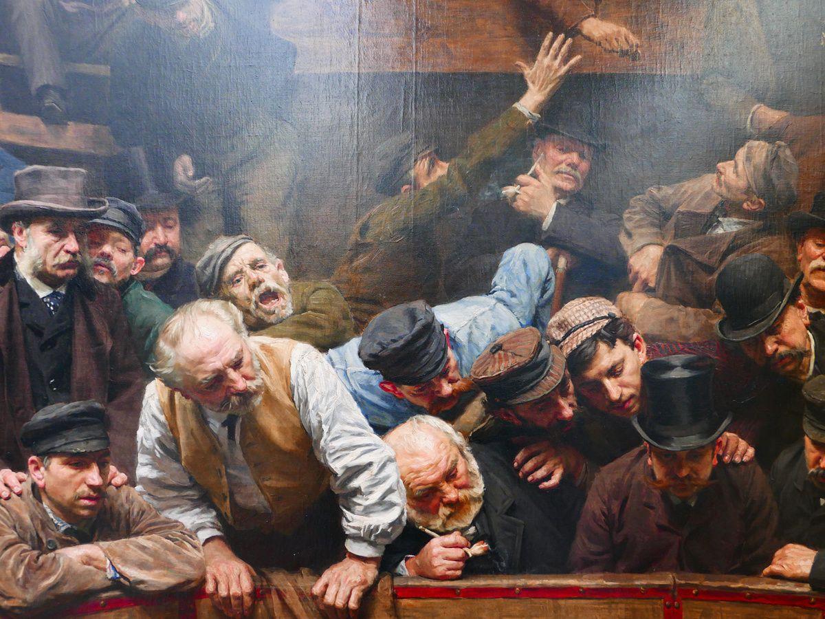 La Piscine et Rémy Cogghe, le combat de coqs (détails) et un autoportrait