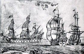 Trois vaisseaux de guerre dessinés par Pierre Puget. La Lune serait le navire de gauche.