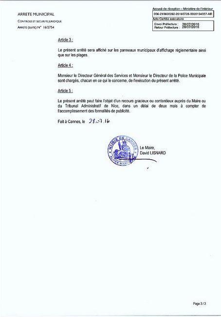 L'arrêté anti Burkini de la mairie de Cannes validé en référé par le tribunal administratif de Nice