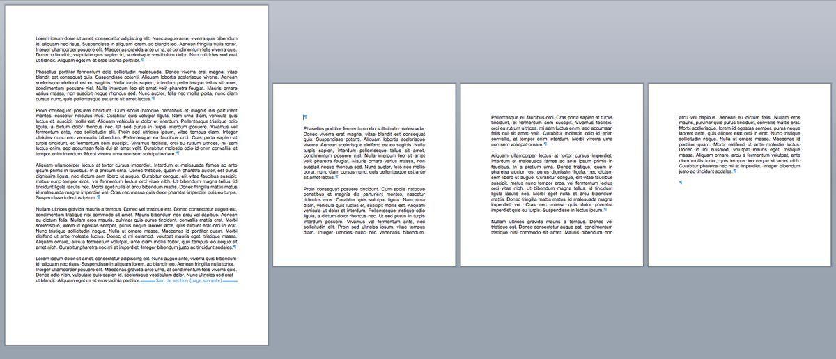 Exemple de page word de dimensions différentes