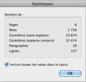 Fenêtre des statistiques de word