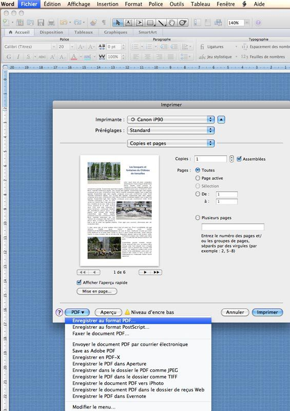 comment mettre un document pdf en word sur mac