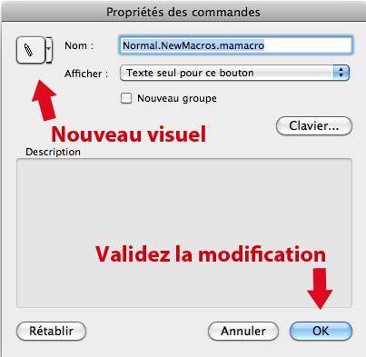 Personnalisation et choix de l'icône du bouton de raccourcis