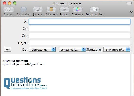 Vérifier l'insertion d'une image dans une signature automatique.