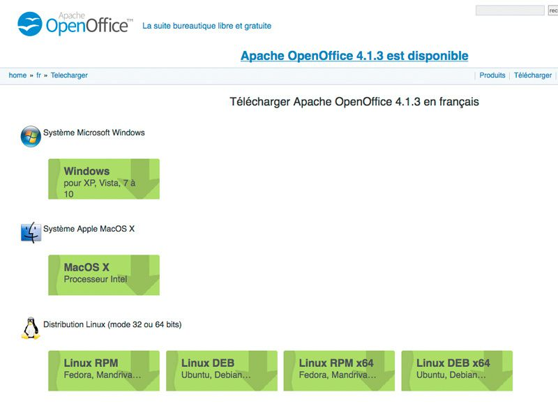 telecharger open office gratuit 32 bits
