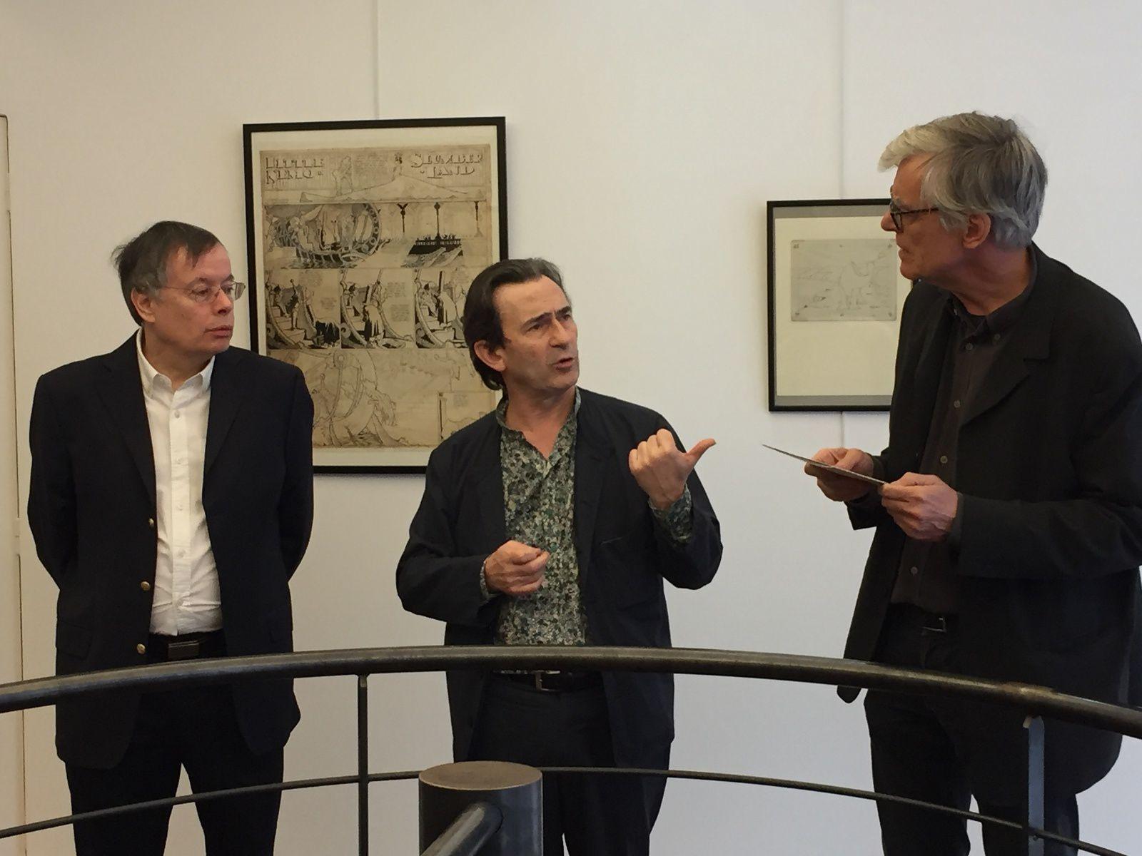 Bernard Mahé, Benoît Peeters et François Schuiten, lors de la conférence de presse Biennale 2017 à la galerie 9e Art à Paris, vendredi 17 mars