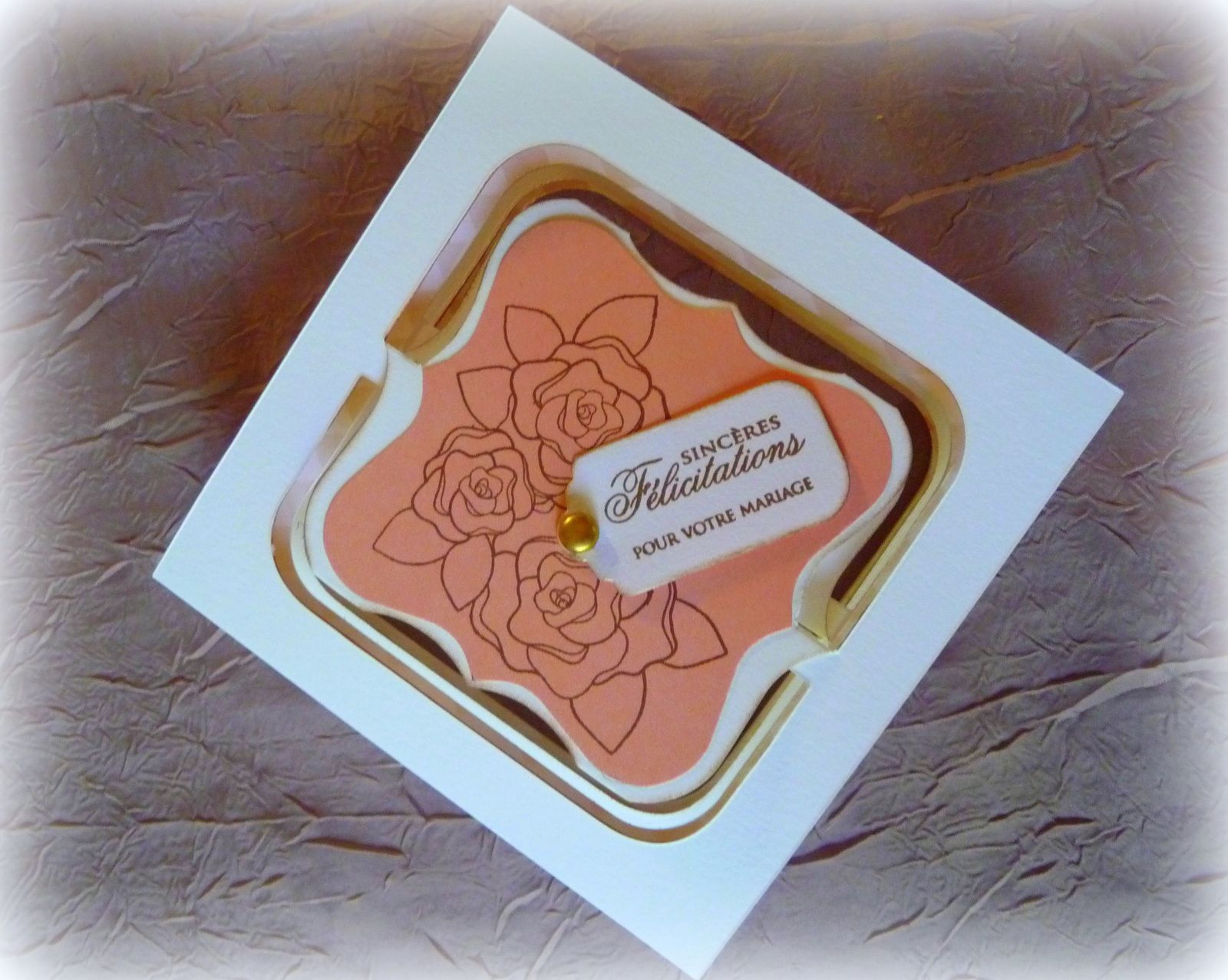 Carte accordéon &quot&#x3B;Sincères félicitations pour votre mariage&quot&#x3B;