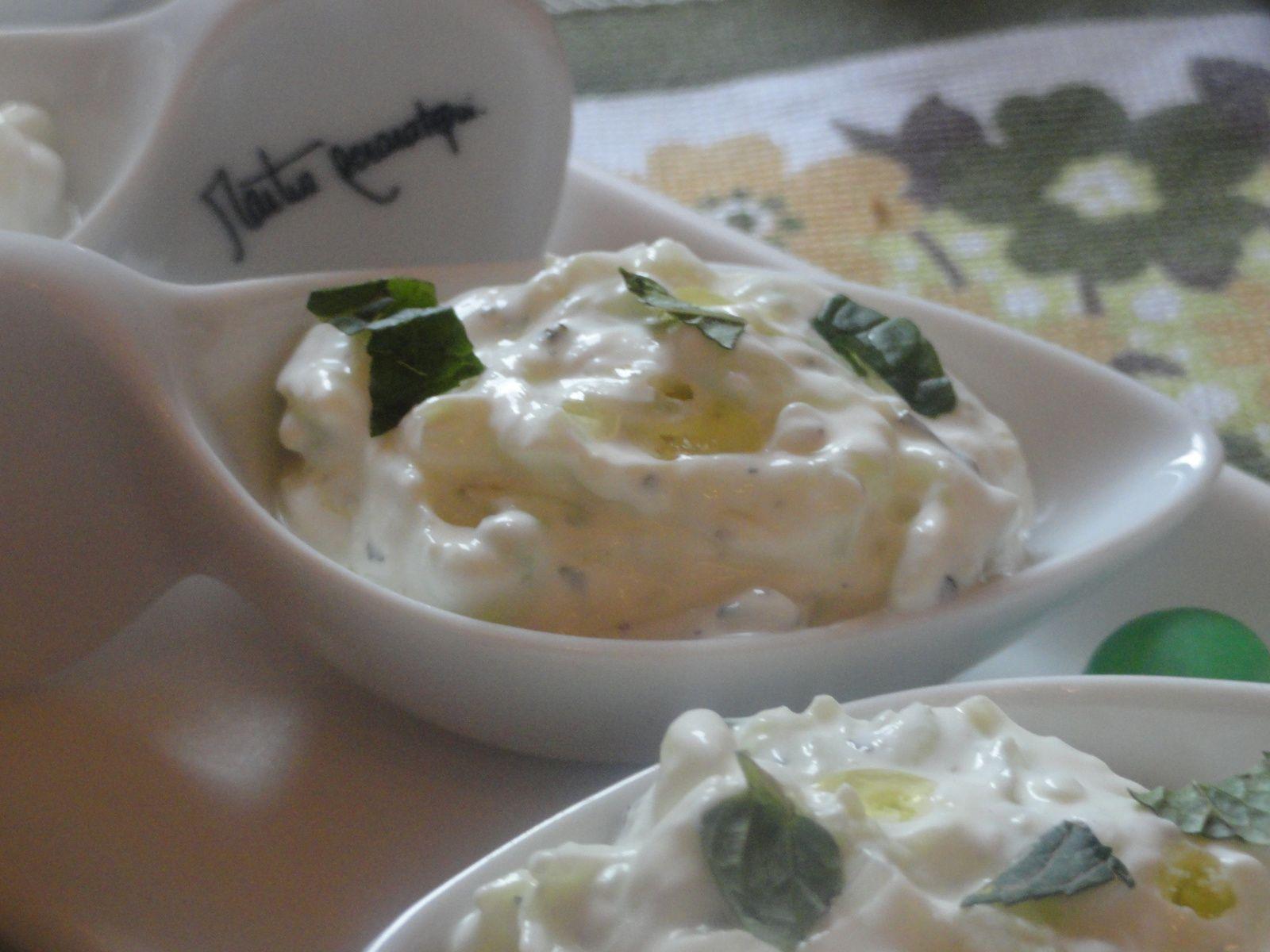Cuillères appéritives de Tzakziki / salade
