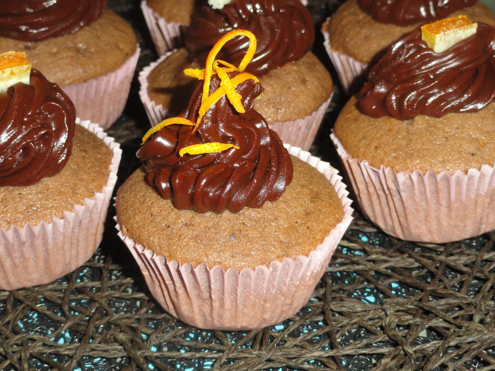 Cupcakes au chocolat, orange, danette