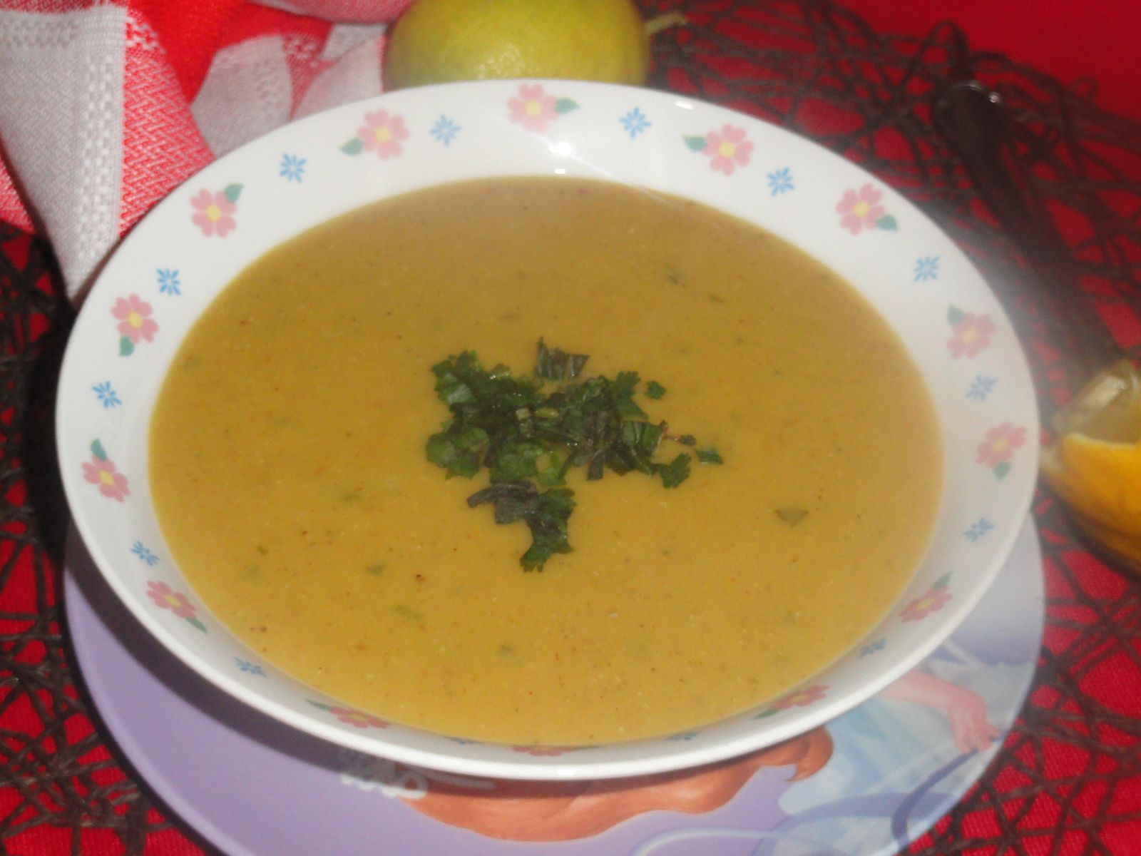 Lentilles corail aux légumes, curry et coriandre