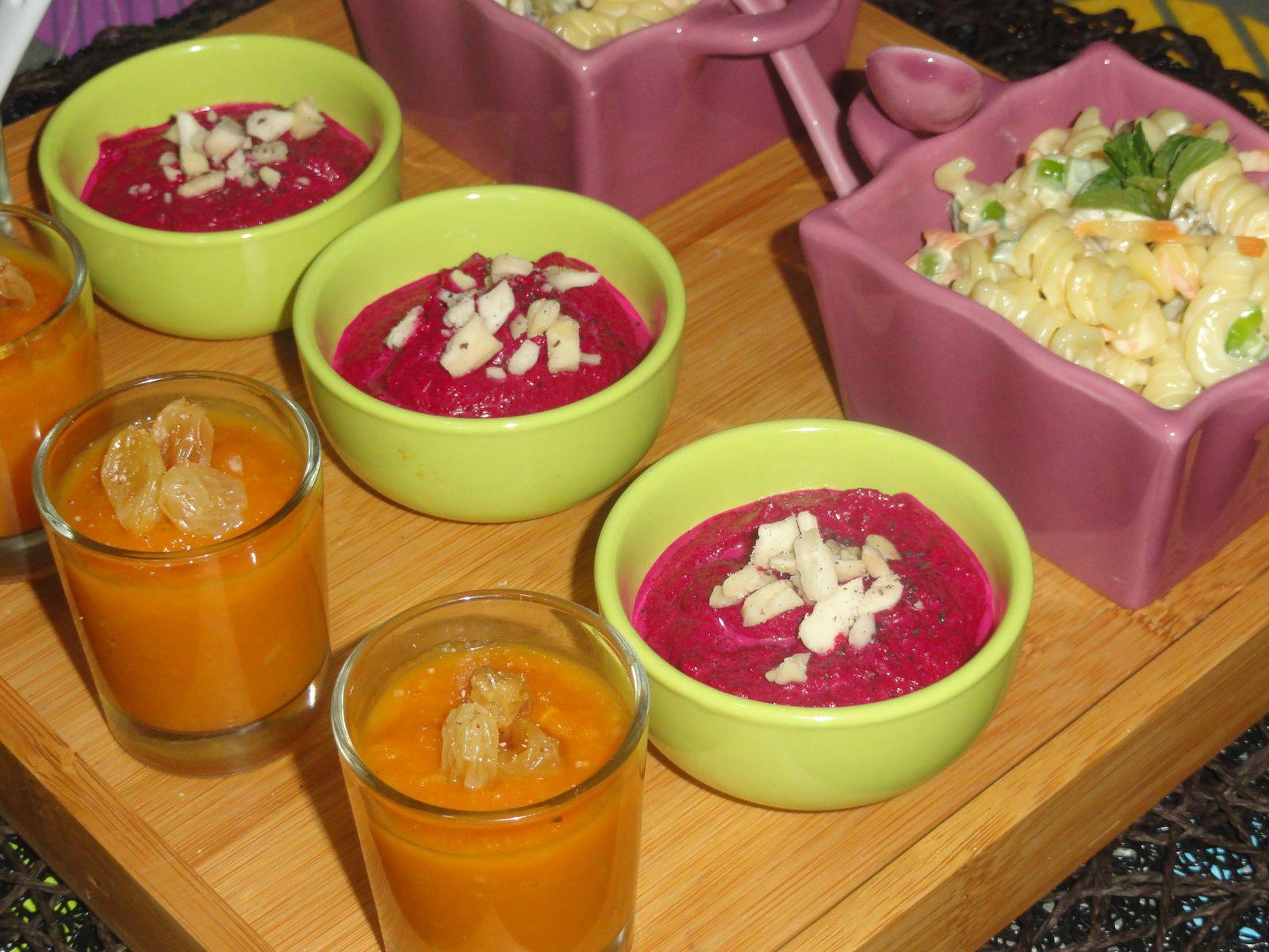 Verrines sucrées de purées de potiron aux raisins secs et eau de fleur d'oranger
