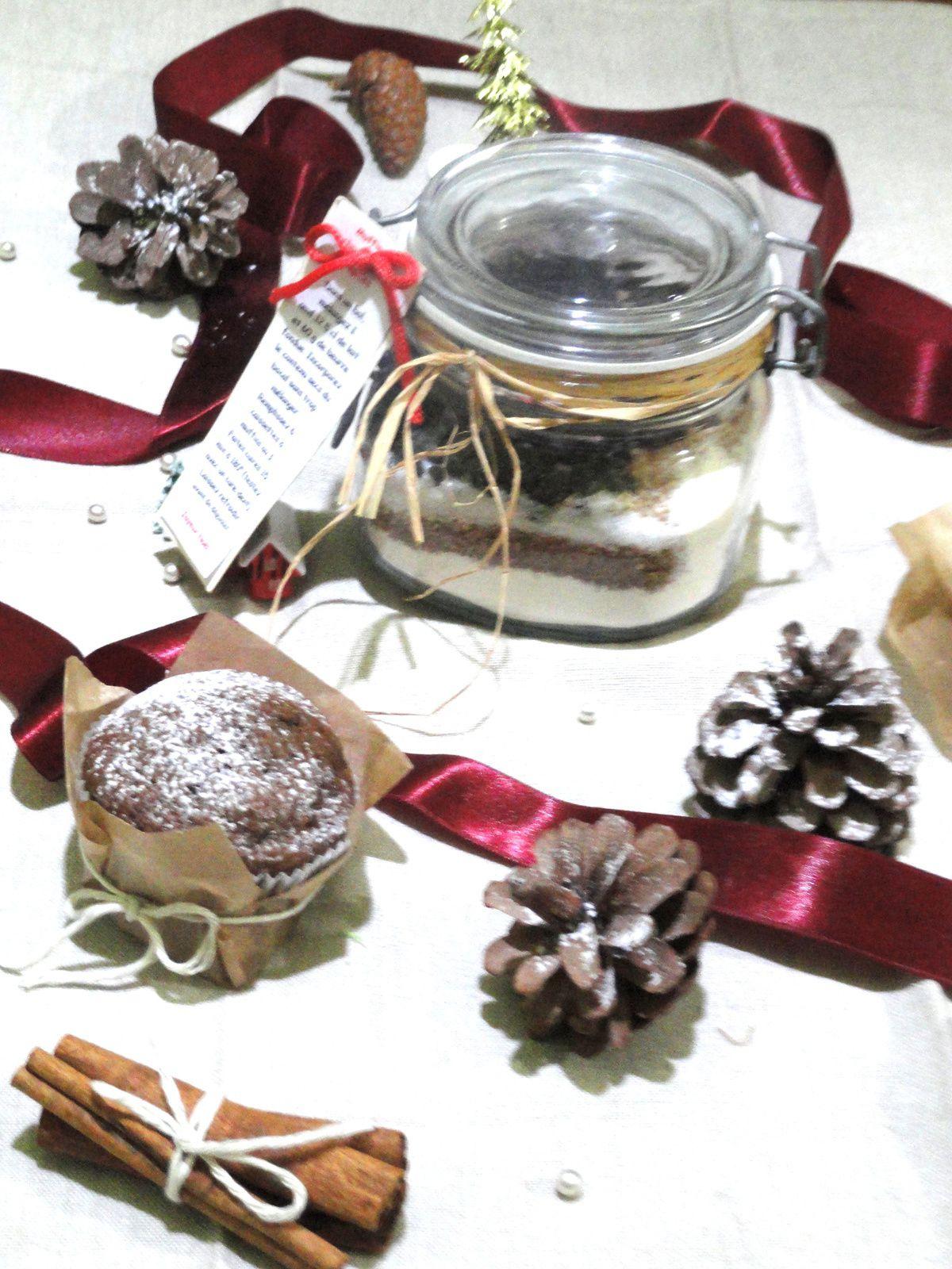 Kit de muffins aux chocolat et épices cannelle, gingembre en pot à offrir