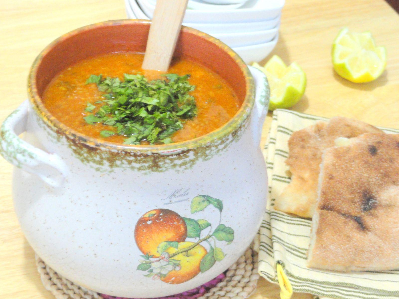 Chorba rouge aux légumes printaniers et blé vert concassé /Plat Algérien