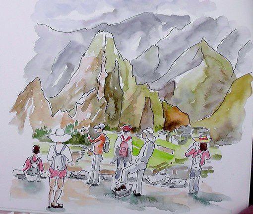 Touristes découvrant le Machu Pichu par Alice.