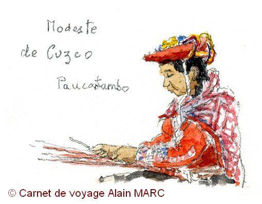 C'est Modeste que je dessine, elle tisse un motif traditionnel de l'Altiplano, en laine d'alpaga.