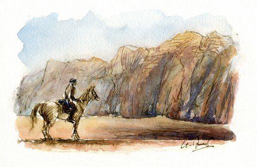 Cavalier dans le désert du Wadi Rum - Rider in the desert of Wadi Rum - Jinete en el desierto de Wadi Rum