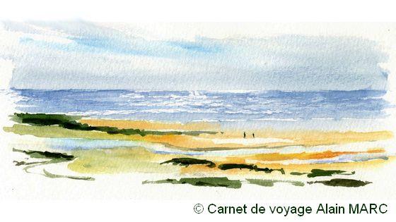 La petite aquarelle démo en synthèse de la lagune de Cacela Velha, à contre-jour : malgré la rapidité d'exécution de cette aquarelle, le miroitement du soleil sur la mer avait déjà changé quand chacun se mit en route sur son propre motif !