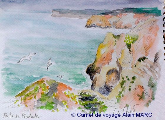 Croquis et aquarelles à la Punta da Piedade (stage carnet de voyage au Portugal).