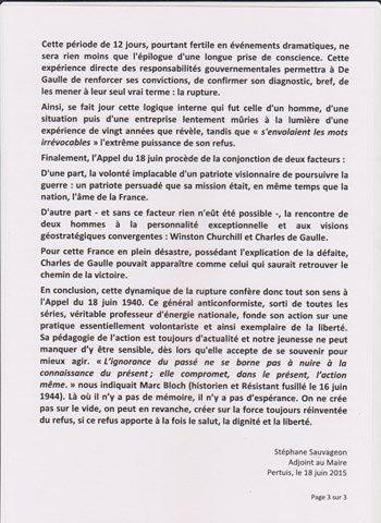 Discours du 18 Juin de Stéphane Sauvageon