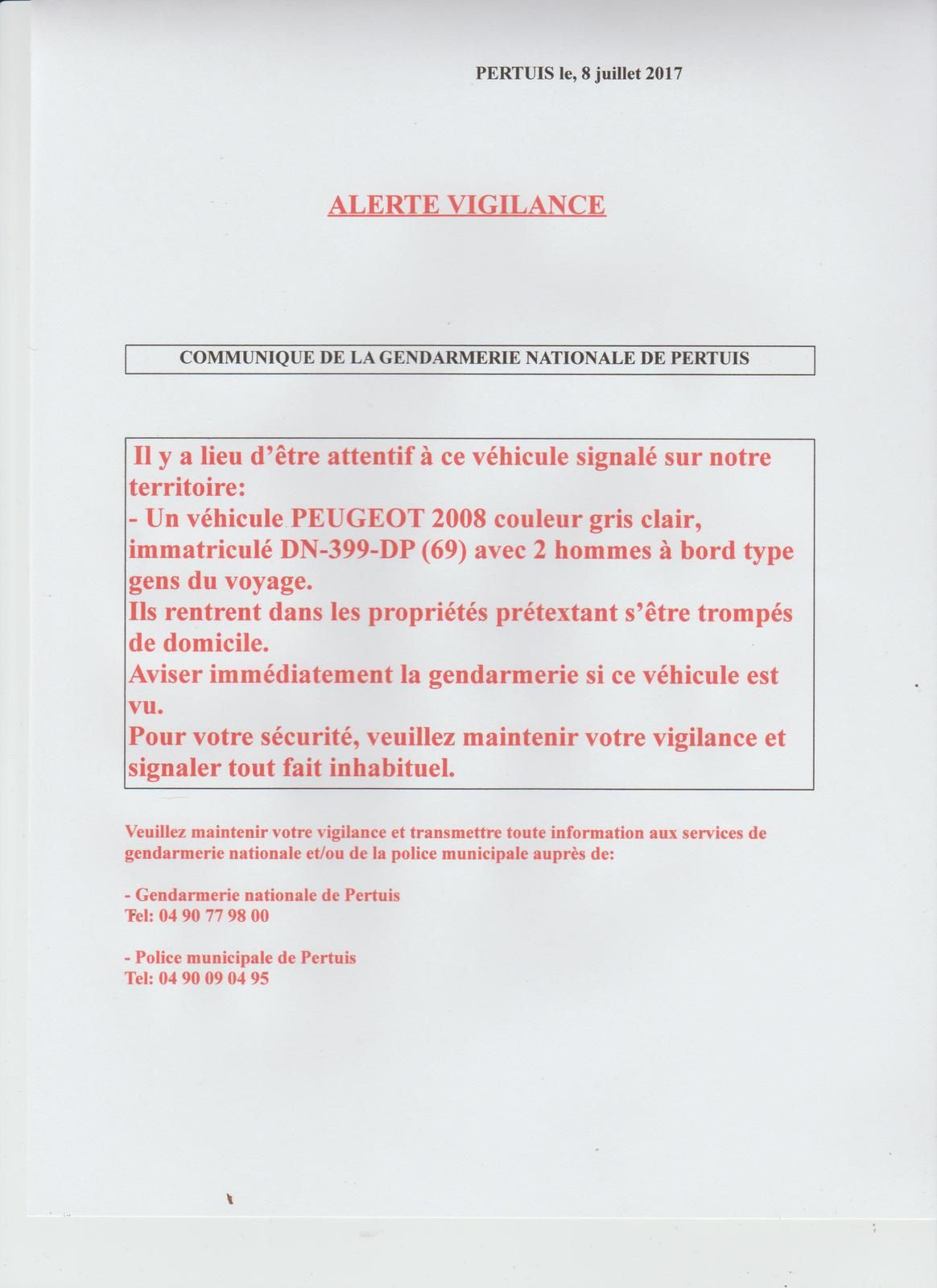 ATTENTION, VIGILANCE PARTICULIERE