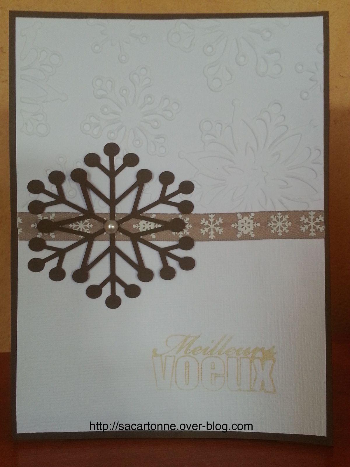 Carte marron embossage flocon neige