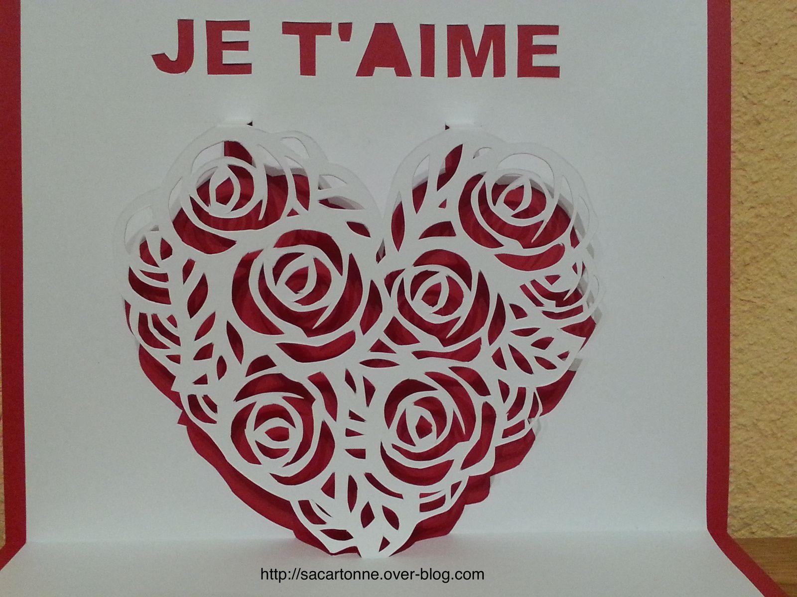 Kirigami gratuit coeur de roses