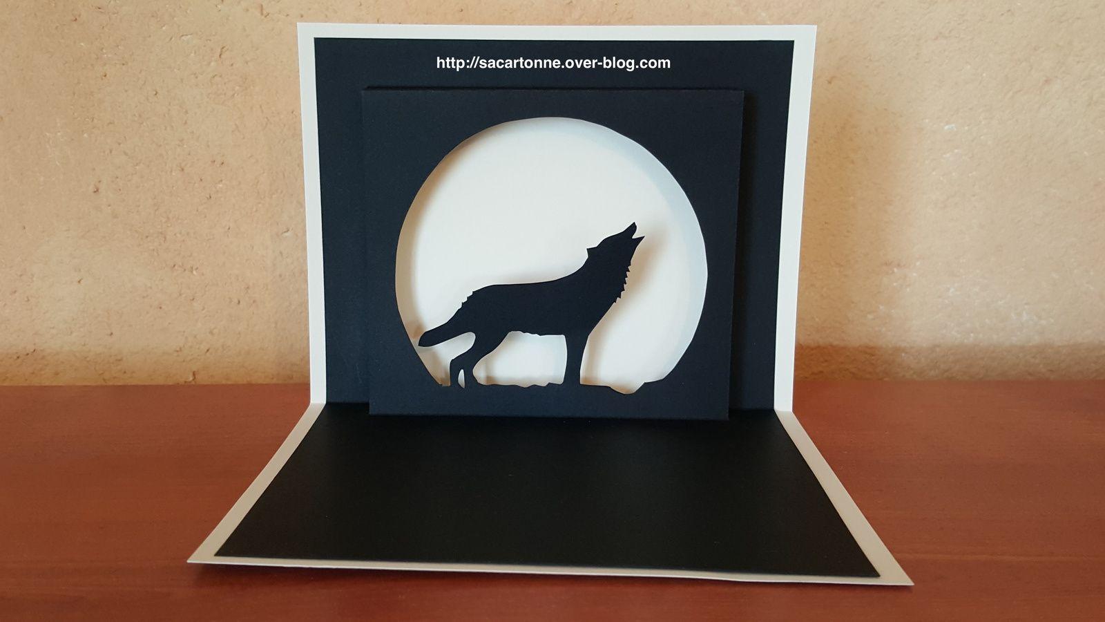 Kirigami gratuit Loup dans la nuit