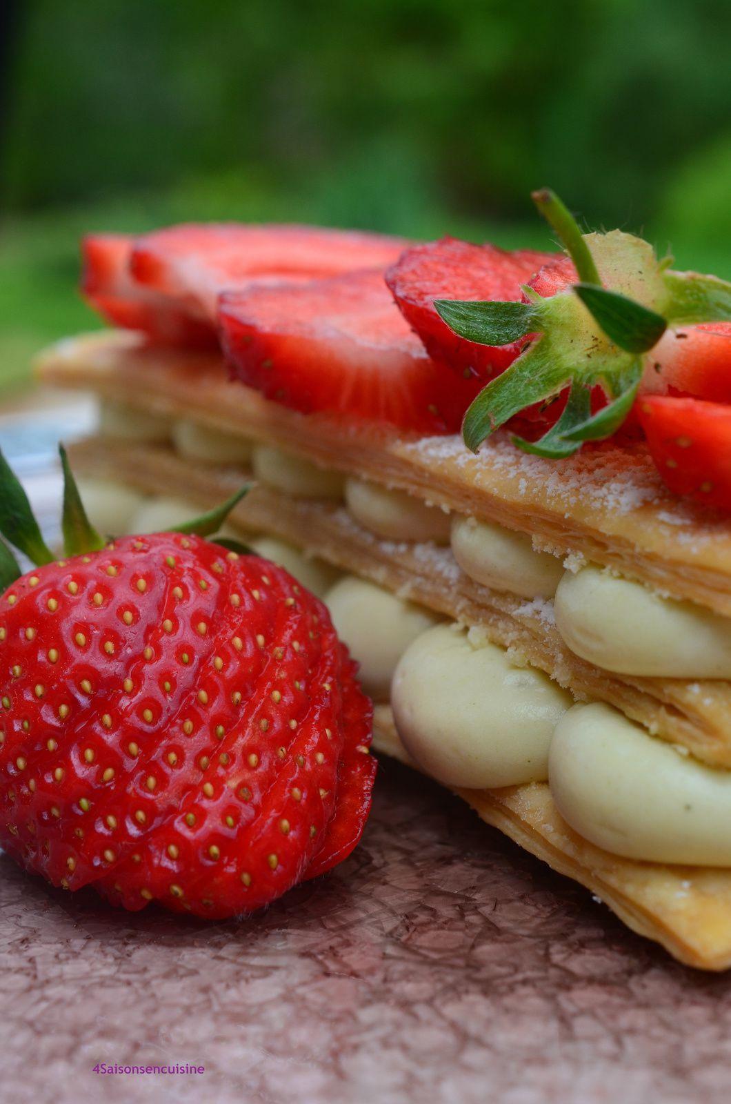 Mille-feuille aux fraises et thé matcha
