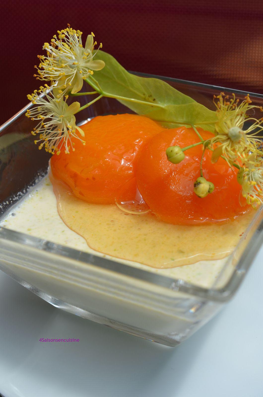 Panna cotta pistache et abricots confits au tilleul