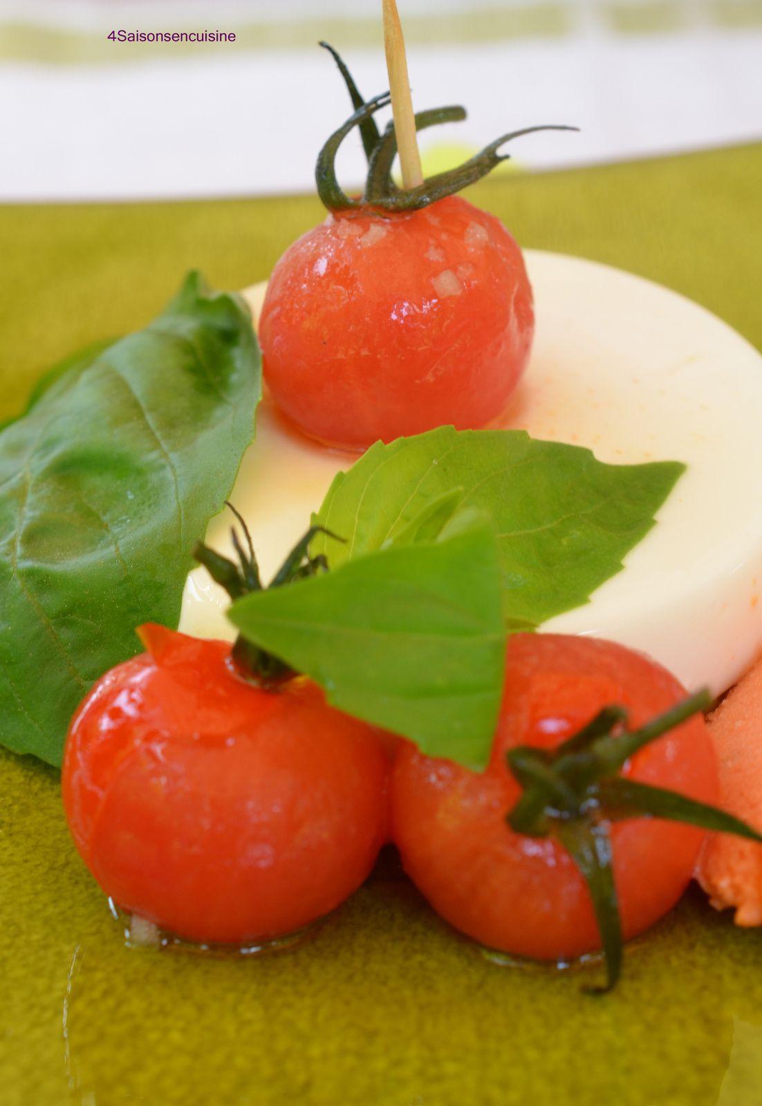panna cotta basilic sabl parmesan et sorbet tomate 4 saisons en cuisine. Black Bedroom Furniture Sets. Home Design Ideas