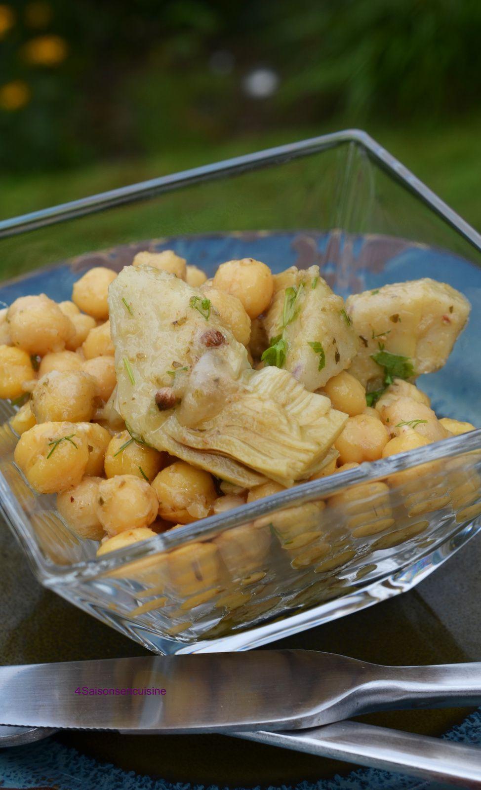 Salade de pois chiches et artichauts