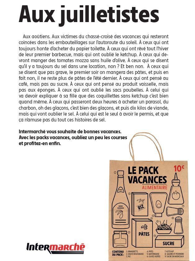 Intermarché invente le pack vacances à 10€ pour ne pas être pris au dépourvu !