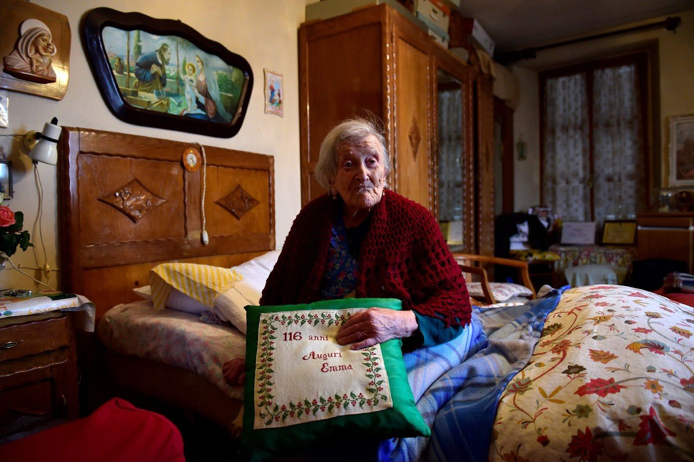 Emma Morano, 117 ans, ni alcool, ni tabac mais beaucoup de sommeil. / Olivier Morin/AFP