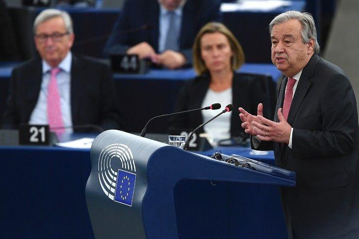 Le secrétaire général de l'ONU Antonio Guterres, dans un discours devant le Parlement européen à Strasbourg, le 17 mai 2017 / AFP