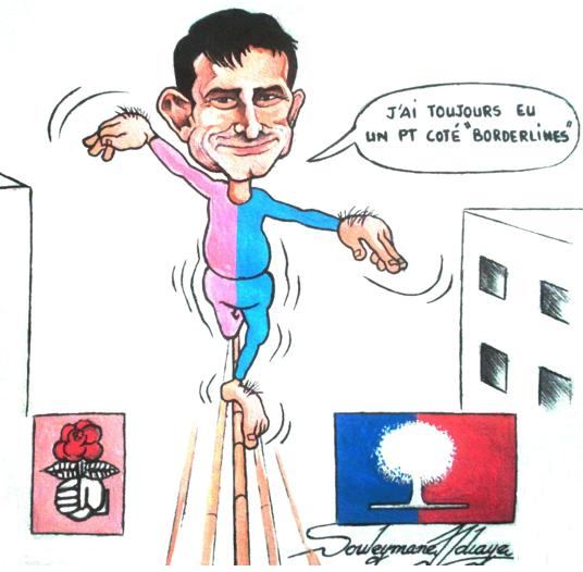 Caricature représentant Manuel Valls en équilibriste entre le PS et l'UMP.