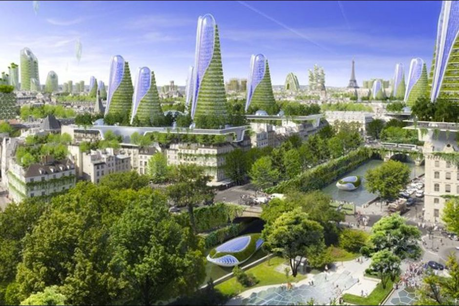 Vue d'ensemble de la ville écologique Paris Smart City 2050