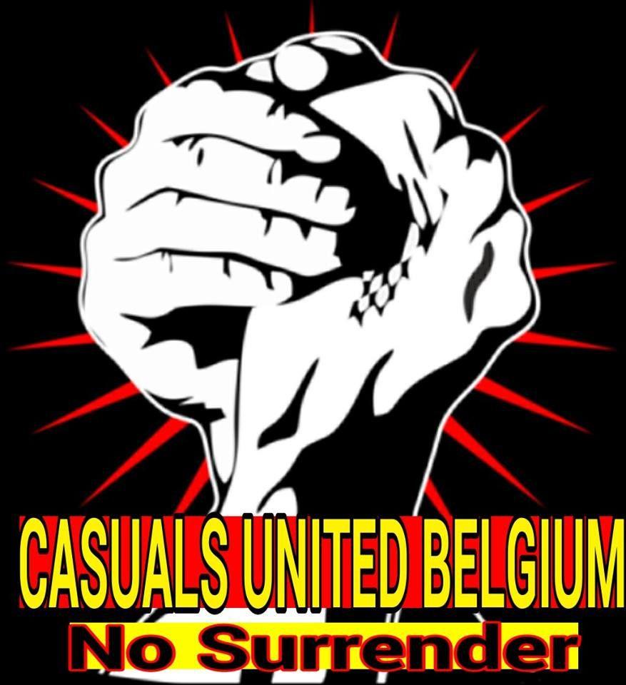 """Le logo de Casuals United Belgium. Le graphisme laisse peu de doutes sur la """"philosophie"""" de ces jeunes-gens..."""