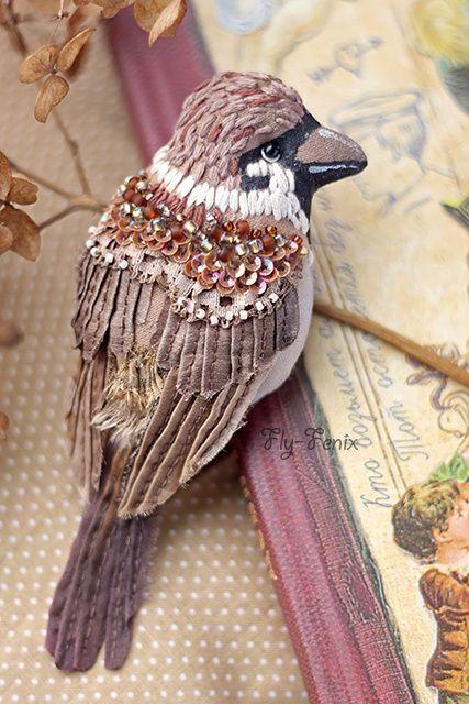 Oiseaux brodés: une volière...