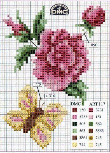 Grilles 88: fleurs , cœurs et ABC papillons