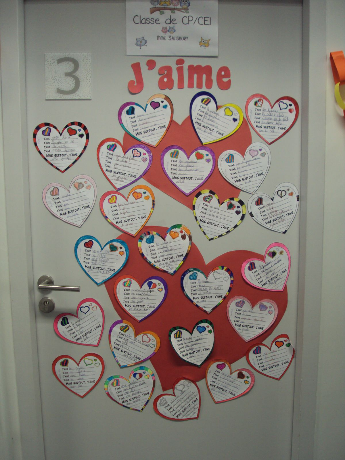 Ma classe affichages crapouilleries for Decoration de porte cycle 2