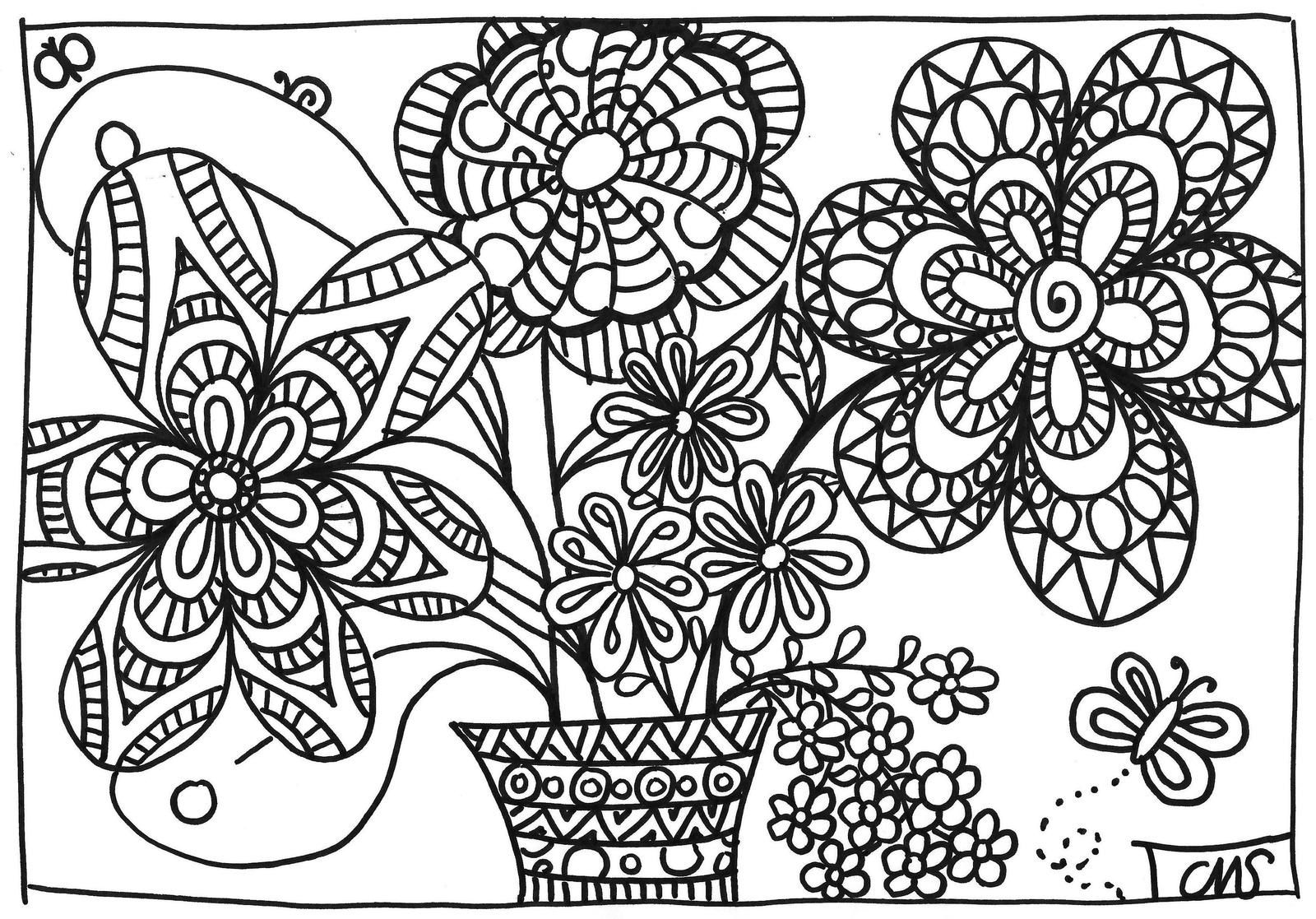 coloriage: bouquet de printemps