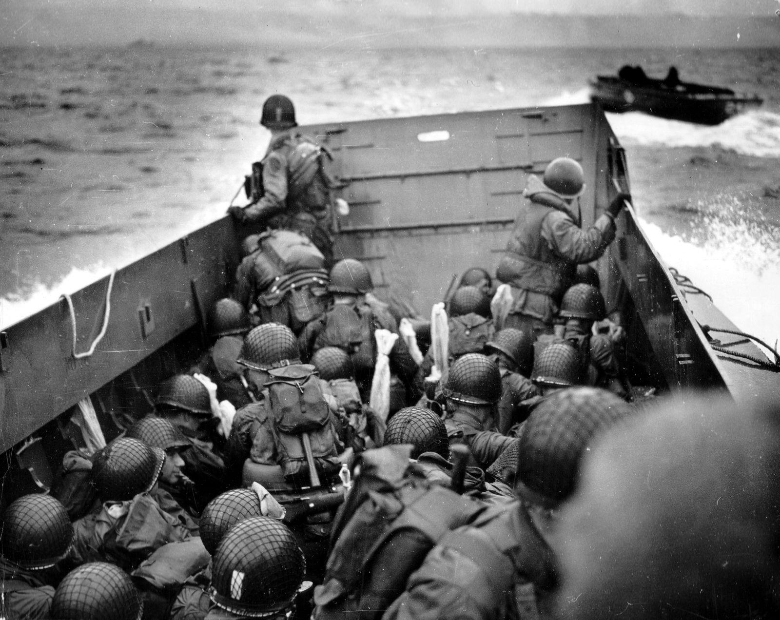 Débarquement de Normandie, 6 juin 1944. Photographie prise par Robert Capa.