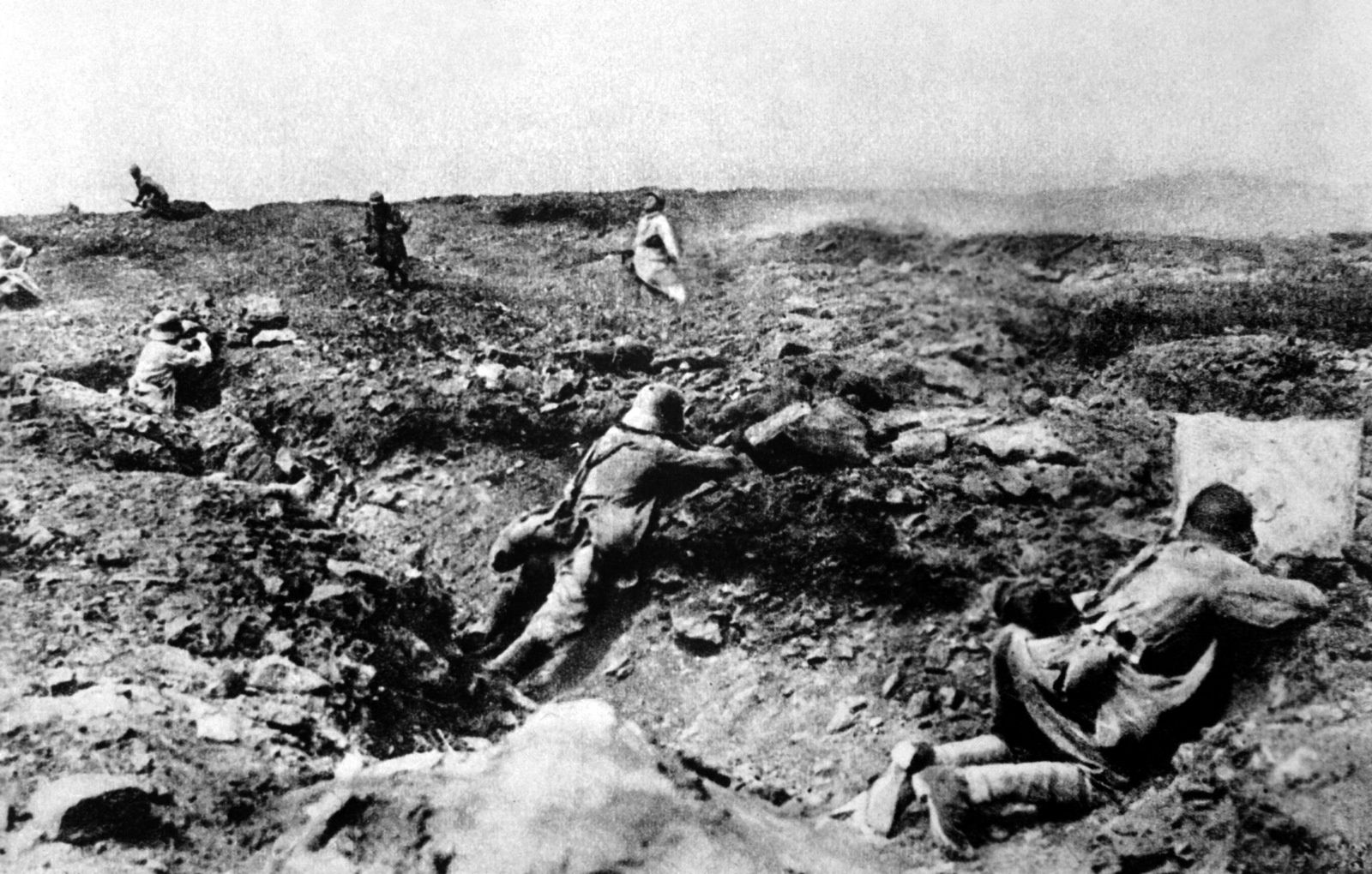Assaut contre les Allemands, Champagne, 1918.