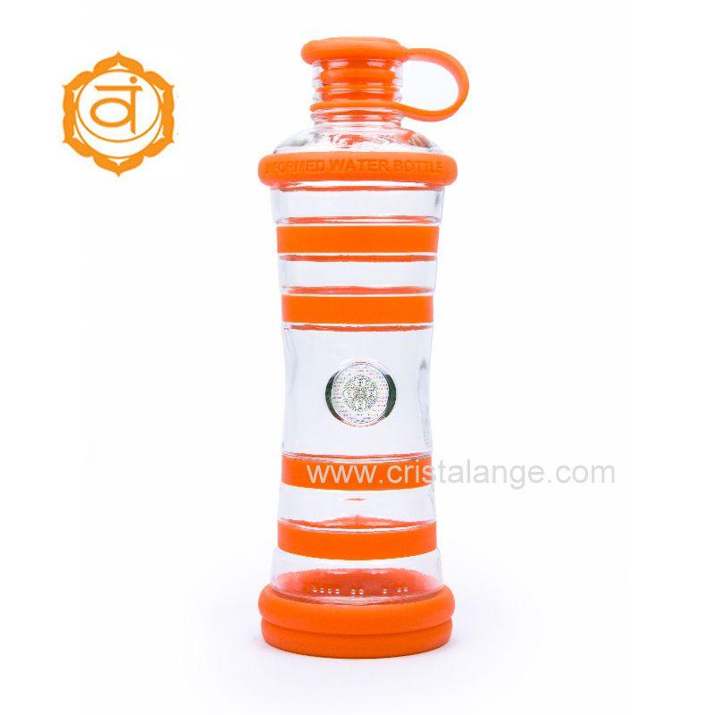Eau vivante: l'eau informée par la bouteille i9 orange pour bénéficier des vibrations de la couleur orange en plus des milliers d'informations contenues dans la puce de silicium
