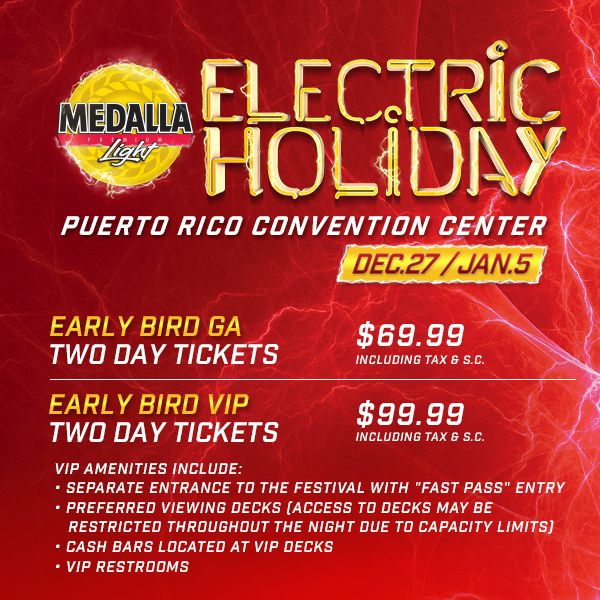 price for Tiësto - Electric Holiday - San Juan, Puerto Rico - december 27, 2014