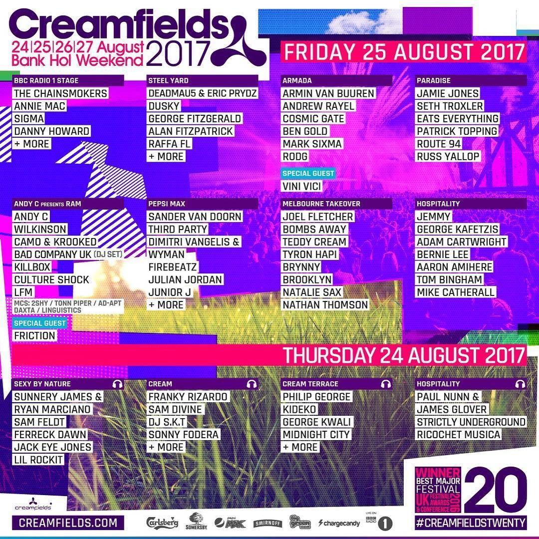 Tiësto photos, vidéo | Creamfields |  Daresbury, UK - august 27, 2017 | Timetable