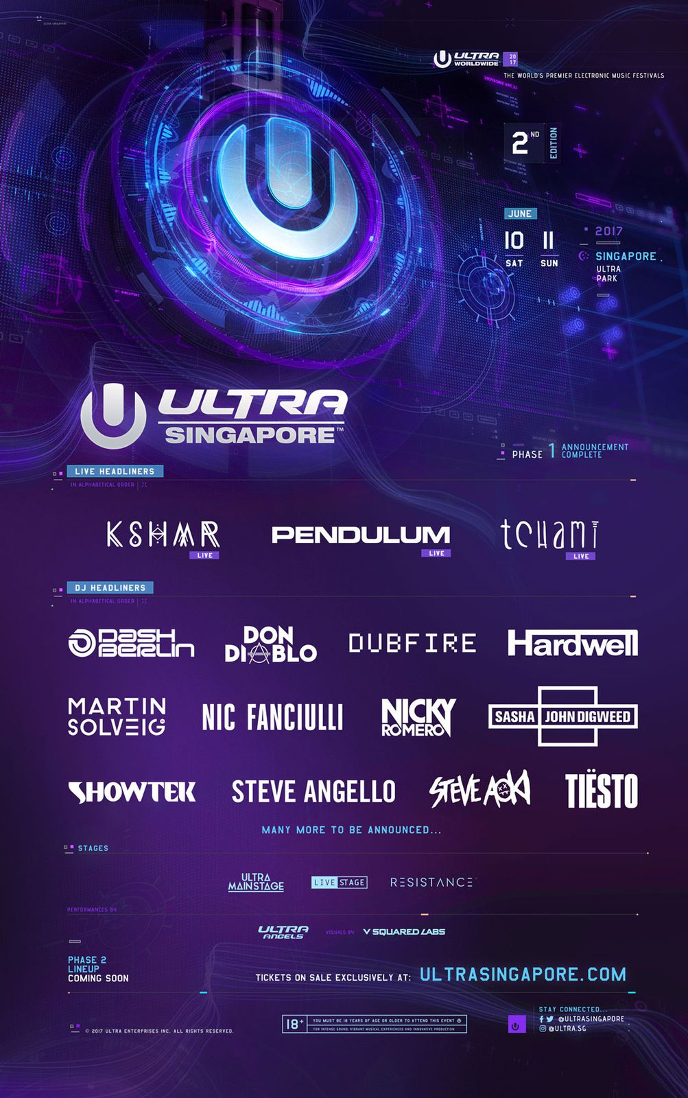 Tiësto date | Ultra Music Festival | Singapore, Singapore - June 10/11, 2017