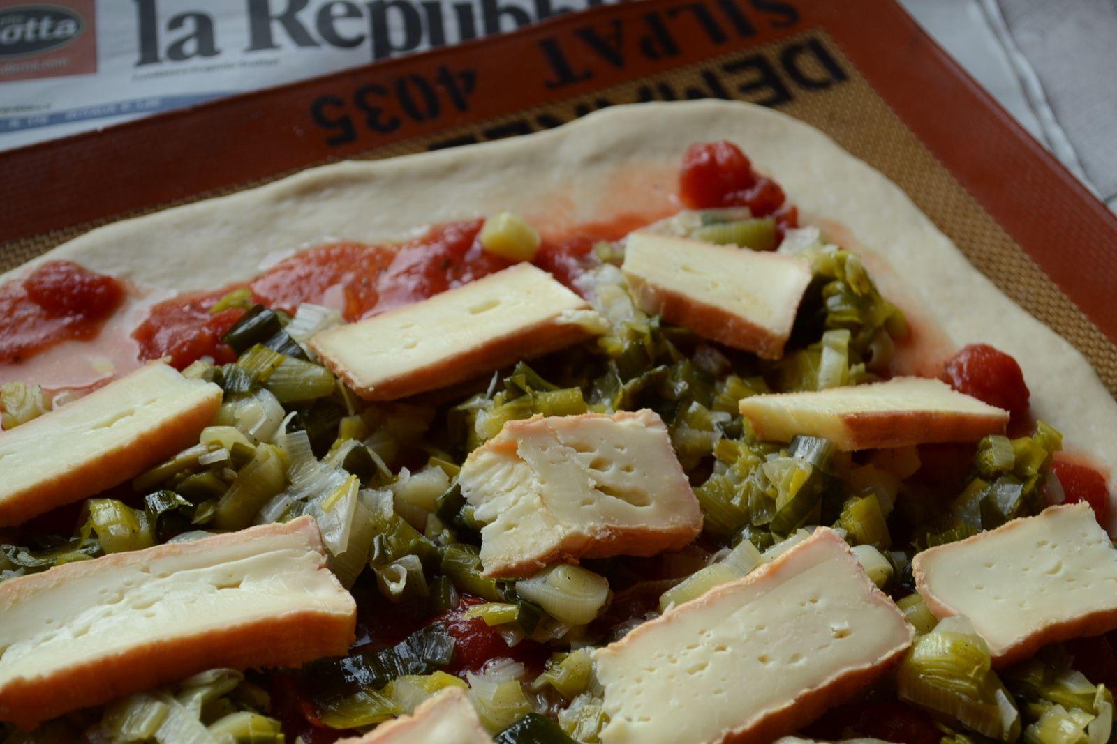 Pizza au poireau et au Maroilles